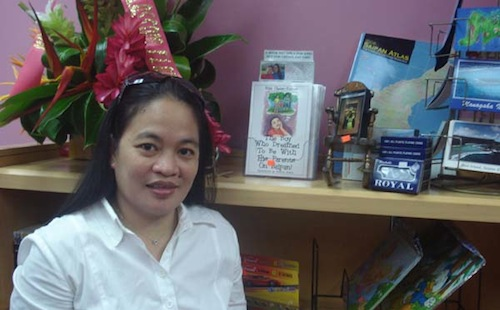 riza ramos at bestseller bookstore on saipan